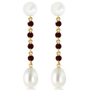 CHANDELIERS EARRINGS WITH GARNETS & PEARLS